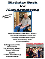 Alan Armstrong Birthday Bash, Fundraiser for Mountain Melody