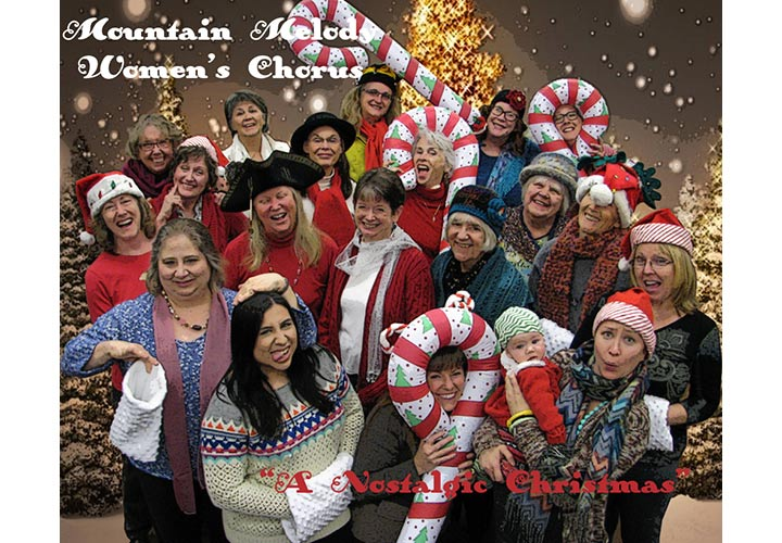 "Mountain Melody Women's Chorus group photo with Christmas decorations and program titled ""A Nostalgic Christmas"""