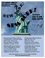 "Mountain Melody's Spring Concert Series poster: ""New York, New York!!"""